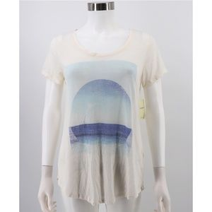 NWT Lucky Brand Sheer Burnout Graphic Tee Shirt